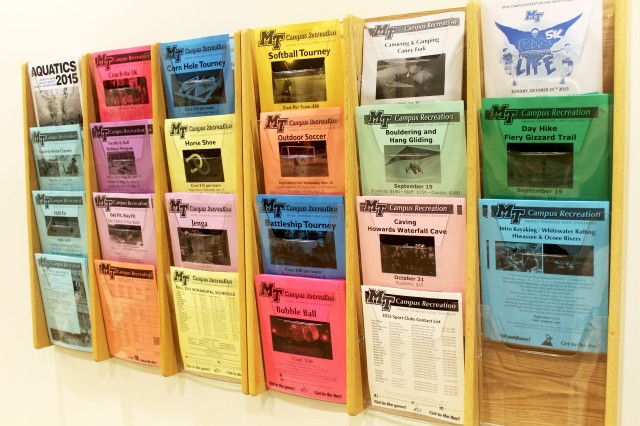 Activity fliers that are free to take at the entrance to the Recreation Center (Photo: Emily Austin)